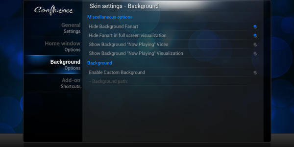 Background Appearance Settings